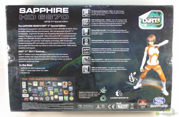 Sapphire Radeon HD 6870 Dirt3 Edition box back