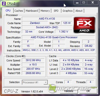 Скриншот CPU-Z с AMD FX-