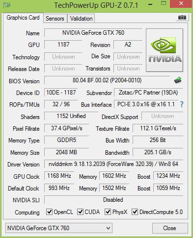 ZOTAC GeForce GTX 760 2 Гбайт после разгона