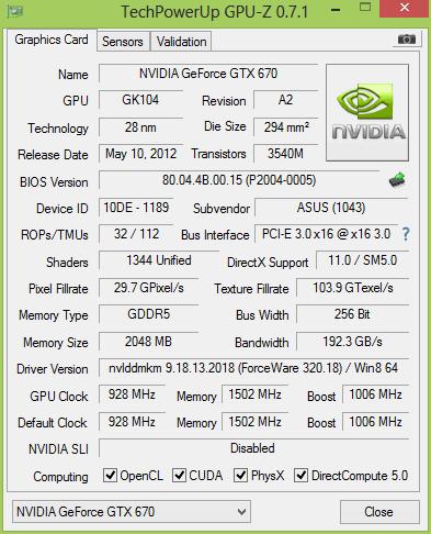 ASUS GeForce GTX 670 DirectCU Mini 2 Гбайт