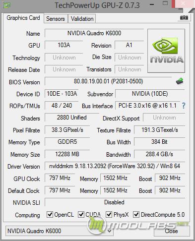 GPU-Z NVIDIA Quadro K6000