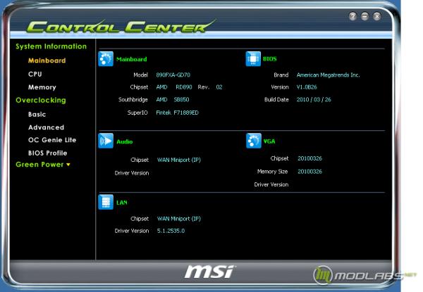 Программа MSI Control Center