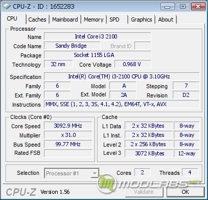 CPUz скриншот Core i3-2100