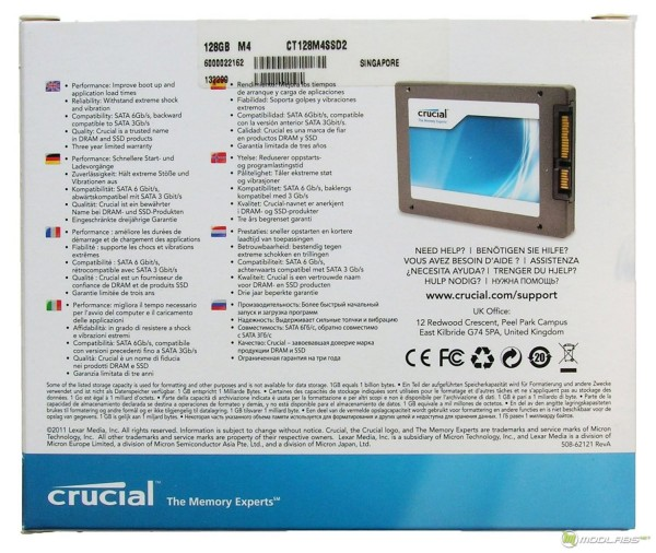 Crucial m4 128Gb - box - back