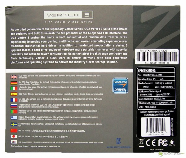 OCZ Vertex3 SSD - box - back
