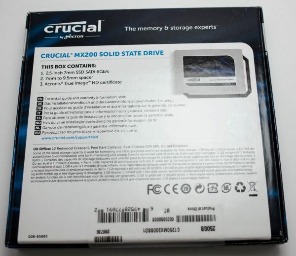 Crucial MX200 250 ГБ - упаковка сзади