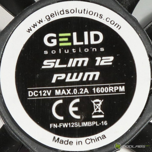 Кулер GELID SlimHero, этикетка вентилятора