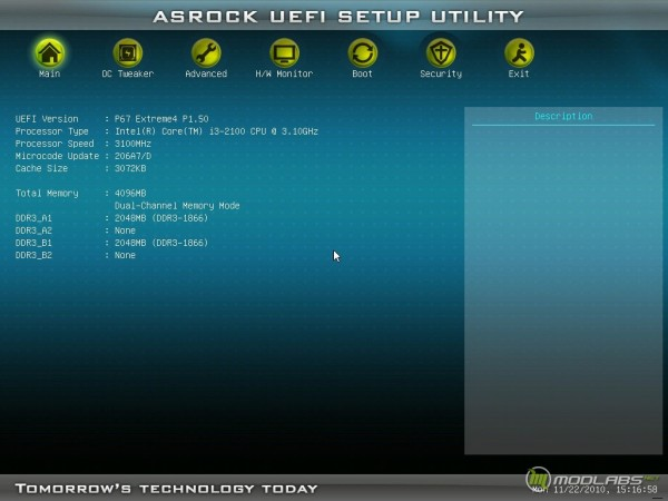Asrock P67 extreme4 UEFI - главный экран, процессор Core i3-2100