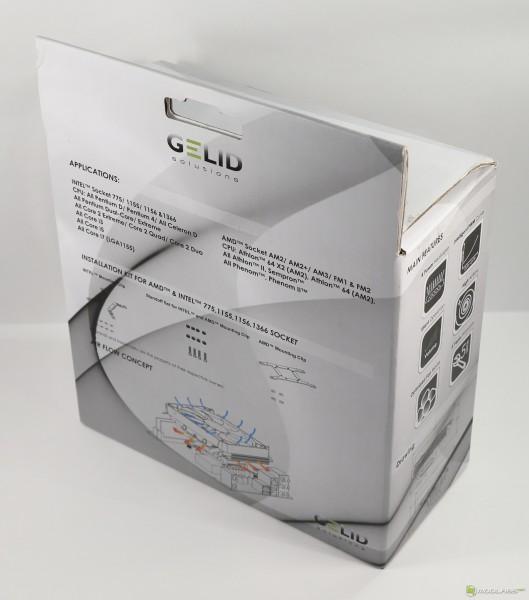 Кулер GELID SlimHero, коробка, вид сзади