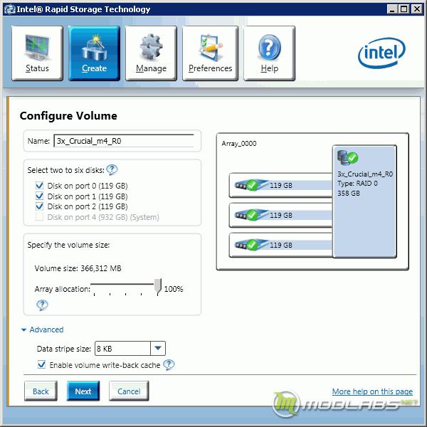 Intel RST - Create Array
