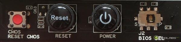 Кнопки: сбросить CMOS, Перезагрузка, Включение, выбор микросхемы BIOS