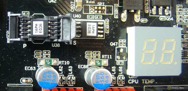 Микросхема BIOS в кроватке, вторая микросхема BIOS, индикатор POST кодов и температуры ЦП