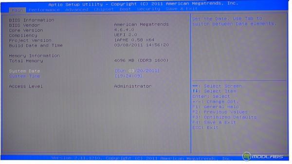 Обзор Sapphire Pure Black P67 Hydra - главный экран BIOS материнской платы. Версия 058