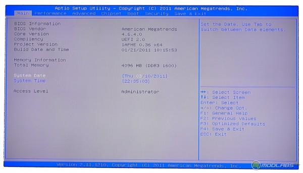 Обзор Sapphire Pure Black P67 Hydra - главный экран BIOS материнской платы