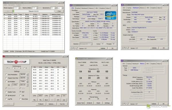 Обзор Sapphire Pure Black P67 Hydra - стресс-тест CPU - Linx 0.6.4 - напряжение все еще проседает, Частота 4800 МГц