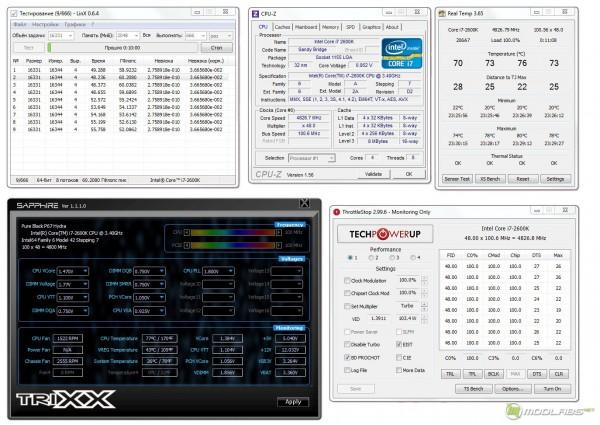 Обзор Sapphire Pure Black P67 Hydra - стресс-тест CPU - Linx 0.6.4 - напряжение проседает на 0,08В