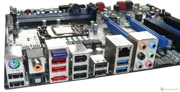 Обзор Sapphire Pure Black P67 Hydra - задняя панель разъемов ввода-вывода. IO Panel
