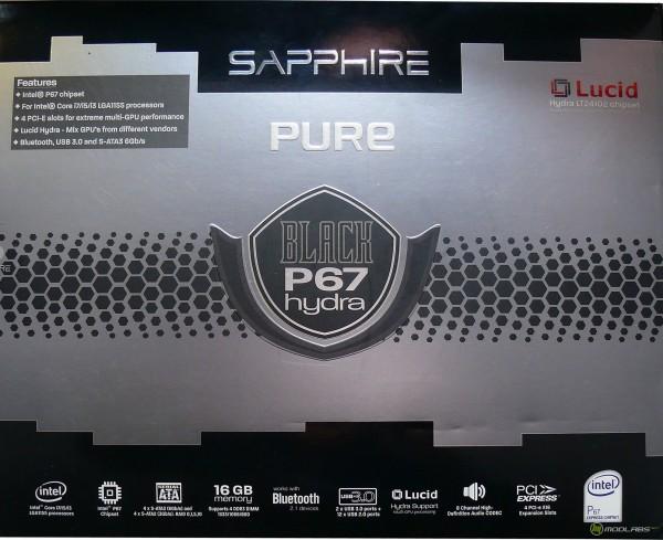 Обзор Sapphire Pure Black P67 Hydra - упаковка материнской платы, лицевая сторона. Коробка