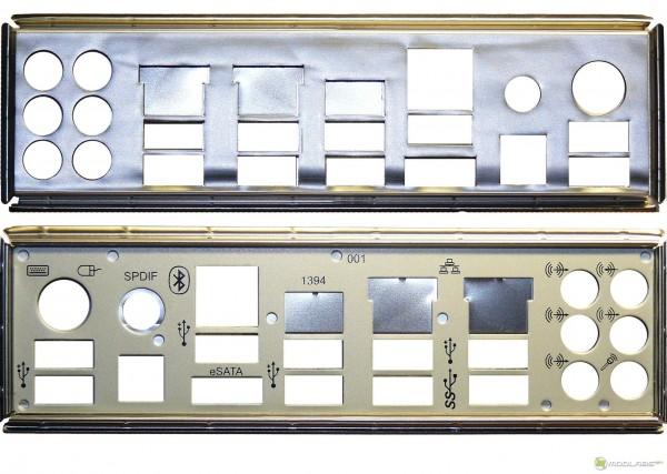Обзор Sapphire Pure Black P67 Hydra - заглушка задней панели разъемов ввода-вывода (с шумоизоляцией), IO schield