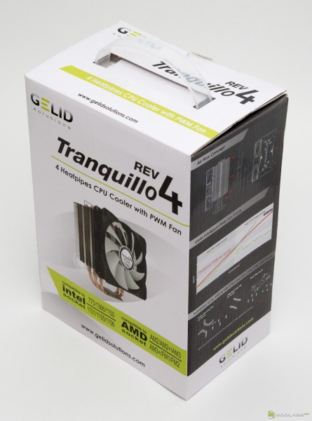 Кулер GELID Tranquillo rev. 4, коробка, вид спереди