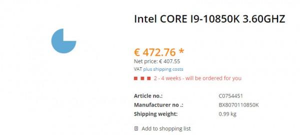 Core i9-10850K, BX8070110850K