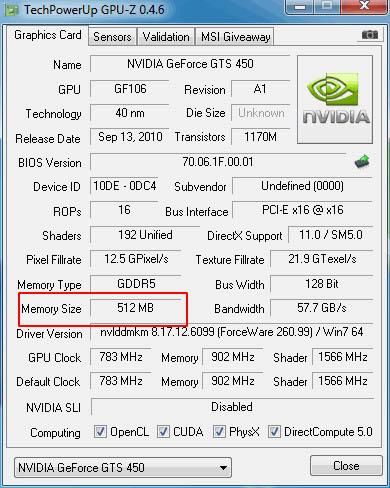 Видеокарта GeForce GTS 450 512 MБ