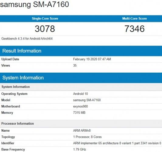 Samsung, Galaxy A71 5G, SM-A7160
