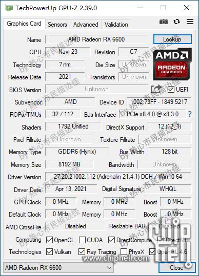 AMD Radeon RX 6600, Navi 23 GPU-Z