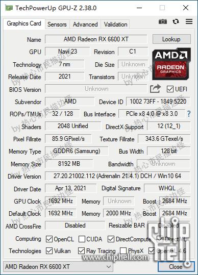 AMD Radeon RX 6600 XT, Navi 23 GPU-Z