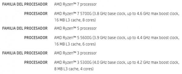 AMD Ryzen 7 5700G, Ryzen 5 5600G, Ryzen 3 5300G