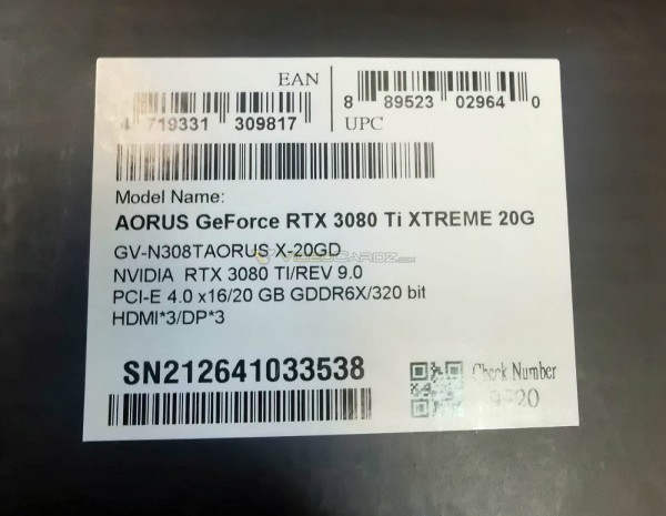 Gigabyte GeForce RTX 3080 Ti 20 Гбайт GV-N308TAORUS X-20GD