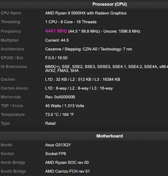 AMD Radeon RX 6800M, ASUS ROG STRIX G15