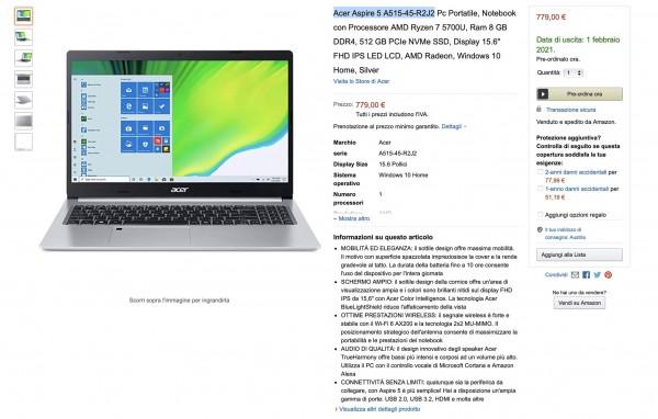 Acer Aspire 5 A515-45-R2J2 на Ryzen 7 5700U