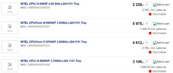 Coffee Lake Refresh, Intel, Core i9-9900KF, i7-9700KF, i5-9600KF, i5-9400F