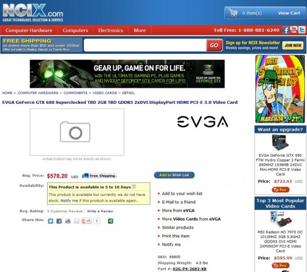 GeForce GTX 680 Superclocked TBD (номер партии 02G-P4-2682-KR)