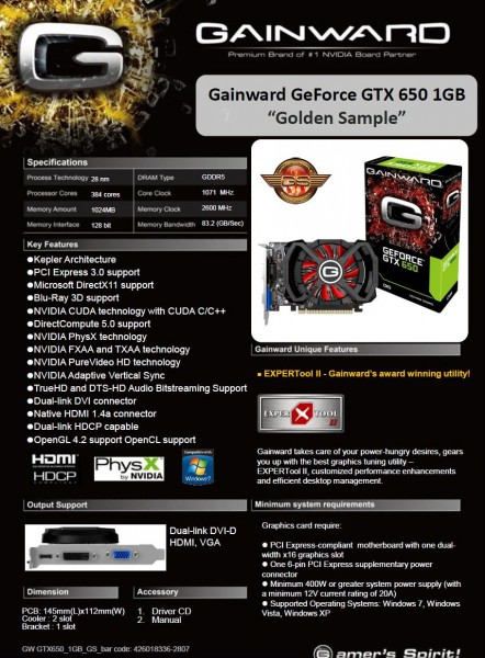 Gainward GeForce GTX 650 Golden Sample