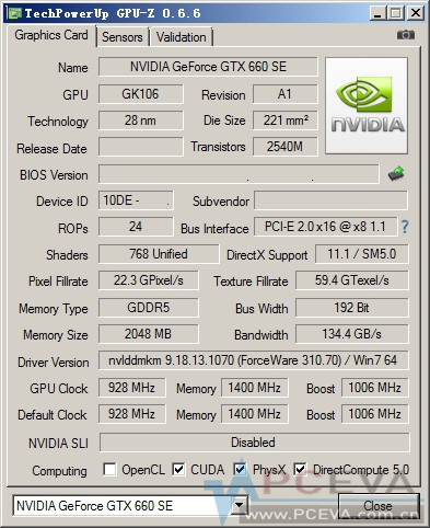 NVIDIA GeForce GTX 660 SE