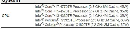 Intel Celeron G1820TE, Pentium G3320TE и Core i3-4330TE