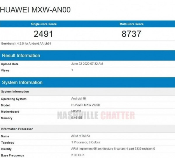 Honor 30 Lite, MXW-AN00, Huawei, Geekbench