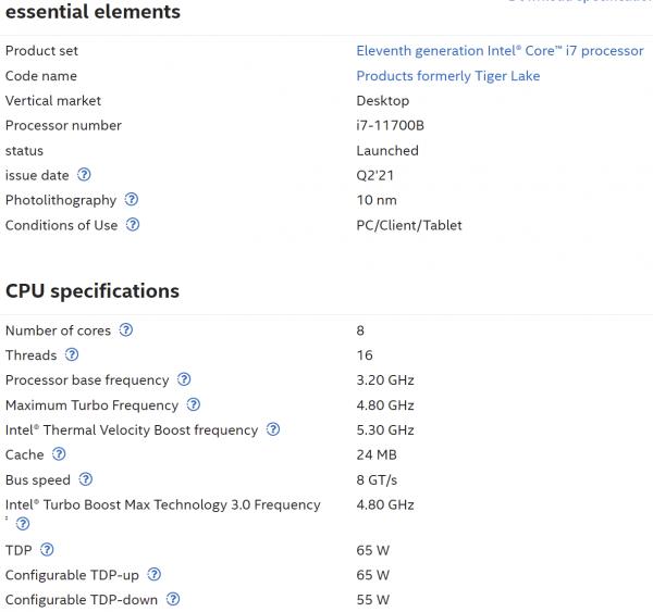 Core i9-11900KB, Core i7-11700B, Core i5-11500B, Core i3-11100B, Intel Tiger Lake