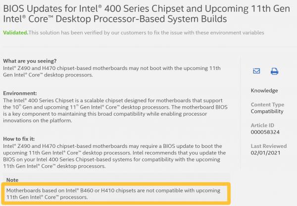 Intel H510, Intel B560, Intel H570, Rocket Lake-S