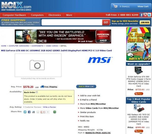 GeForce GTX 680 OC (N680GTX-PM2D 2GD5OC)