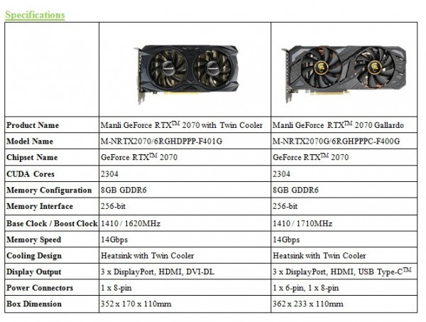 Manli GeForce RTX 2070 Gallardo