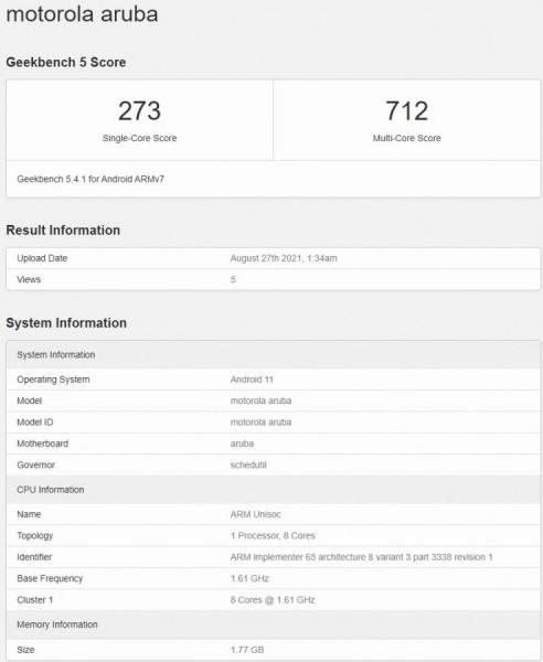 Смартфон Motorola Moto E20 подтвердил свои ключевые характеристики в тесте Geekbench