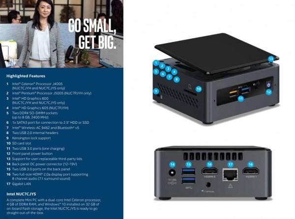 Intel NUC 7 PJYH и NUC 7 CJYH