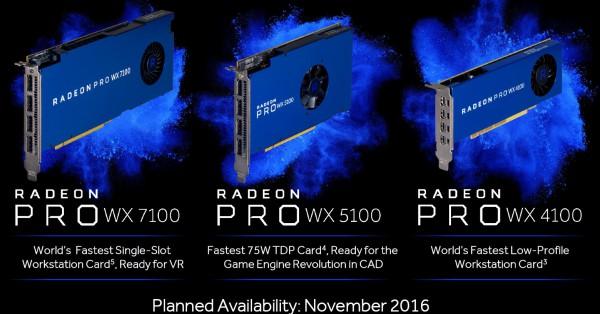 Radeon PRO WX 4100, WX 5100
