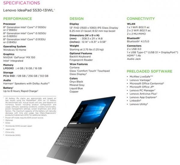 Core i7-9550U, i5-9250U, i3-9130U