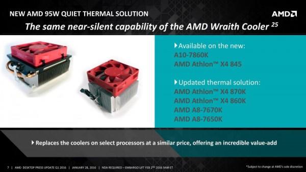 A6-7470K, A10-7860K, Athlon X4 845
