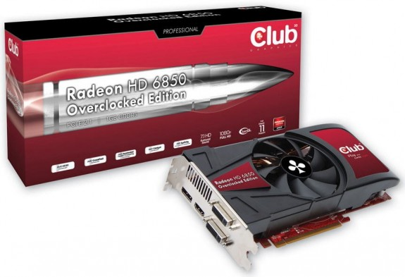 Видеокарта Club 3D Radeon HD 6850 Overclocked Edition
