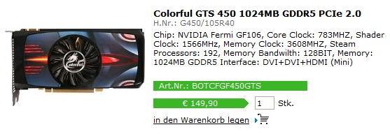 Видеокарта Colorful GeForce GTS 450